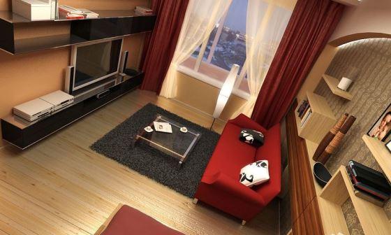 Перепланировка гостиной комнаты